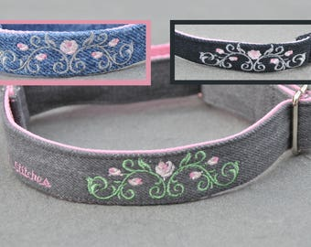 Jeans Re-purposed into Denim Dog Collar Flower Embroidered Custom Made for Puppy, Small or Large Dog as Buckle or Martingale Collar