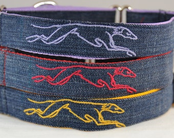 Greyhound Collar Embroidered on Recycled Demin, Custom Dog Collar available as Martingale Collar