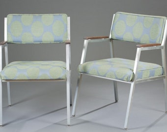 Set of 4 Shaw-Walker Aluminum Arm Chairs