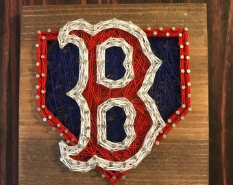 """Boston Red Sox String Art 7.25""""x7.25""""//String Art//Gifts For Him//Sports Gifts//Boston//Redsox//Man Cave//Home Decor//Wall Hanging"""