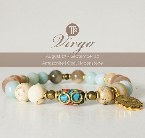 Virgo zodiac sign bracelet Amazonite bracelet Zodiac jewelry Virgo birthstone Zodiac bracelet September birthstone Gemstone bracelet for her