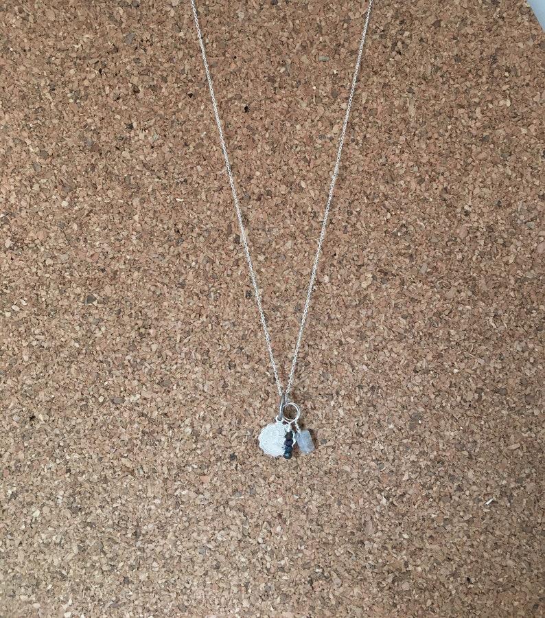 Sagittarius Zodiac Necklace Labradorite Sterling Silver Necklace Spinel