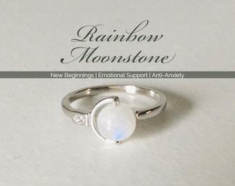 Rainbow Moonstone Ring | Adjustable Sterling Silver Ring