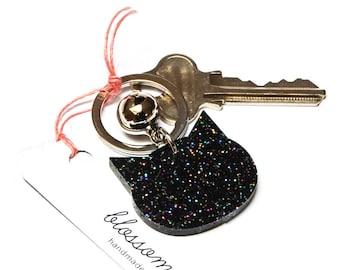 Cat Keyring · Black Cat Keyring with Glitter · Glitter Keyring · Cat Keyring with Bell