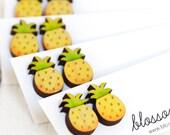Hand Painted Wood Pineapple Earrings