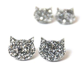 aa7de9980 Glitter Cat Studs · Cat Earrings · Silver Cat · Silver Glitter Cat Earrings  · 2 sizes