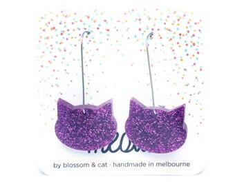Cat Wire Earrings · Magenta Pink Glitter Cat Earrings ·  Pink Cat Earrings · Glitter Cat Earrings · Cat Drop Earring