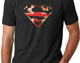 Superman British Flag  Men's T-Shirt