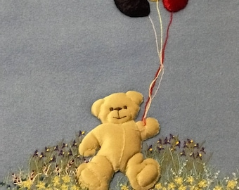 Wool baby blanket bear with balloons, embroidery