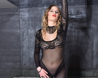 See Through Lingerie Crotchless Dancewear Bodystocking