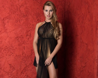Valentines Lingerie Sheer Lingerie - Lingerie Long Gown - Black Gown - Plus Size available