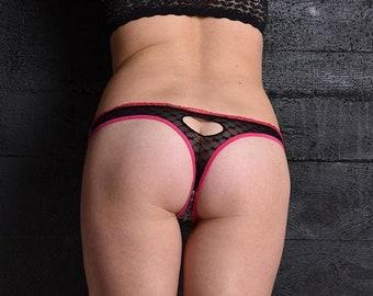 Cotton Thong Panties See Thru Lace Back Heart Design Opening
