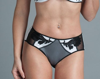 Mesh Panties - Silk Panties - Black & White Mesh Panties - Plus Sizes available