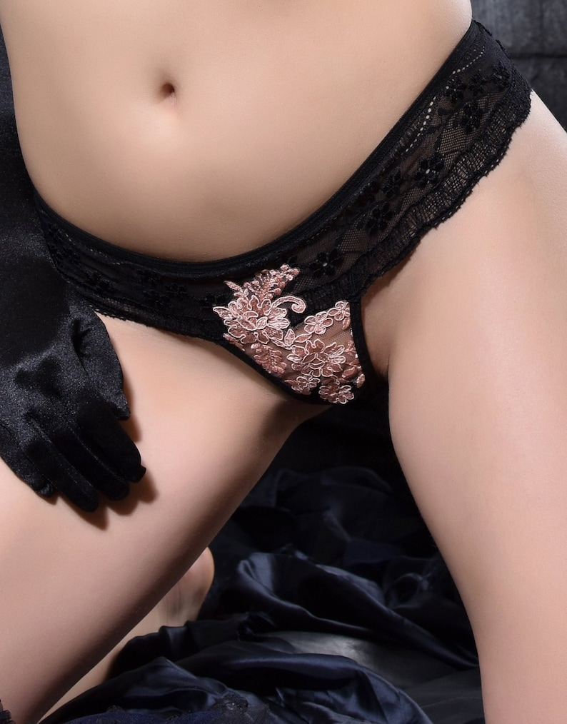 Crotchless Lingerie Mini Thong Panties image 0