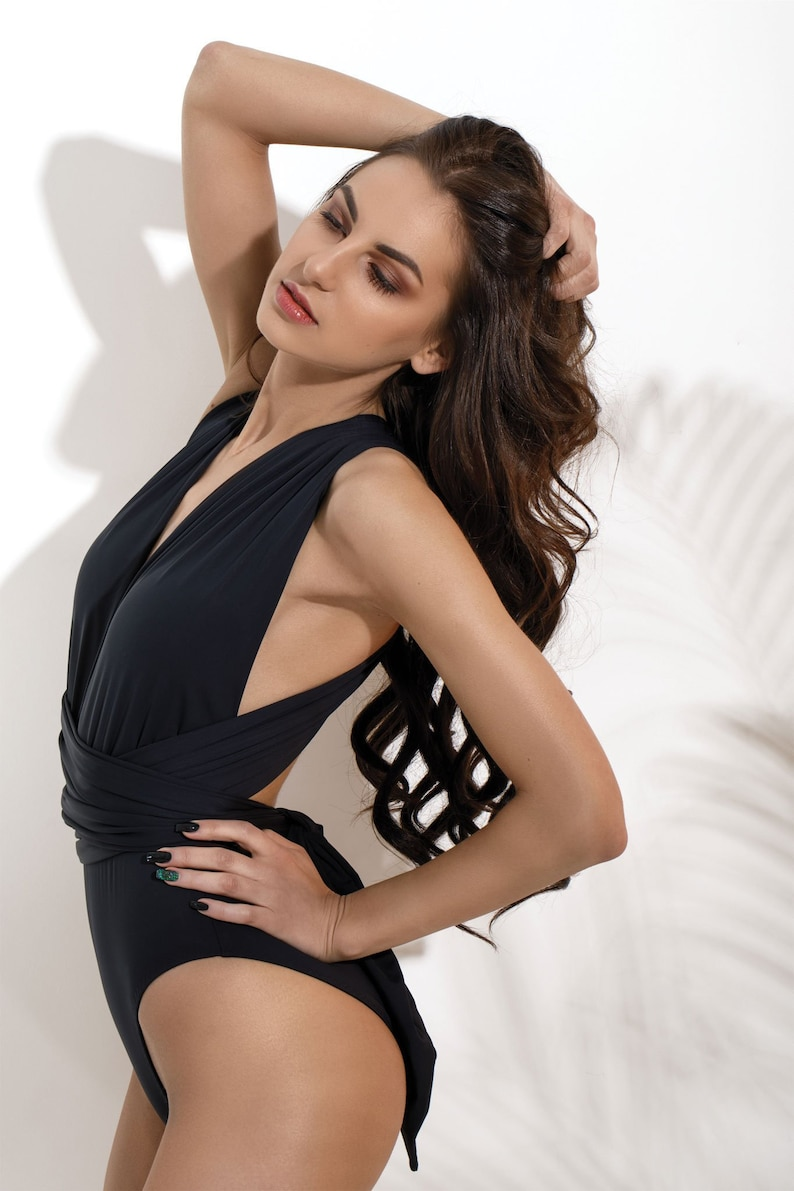 Black One Piece Swimsuit High Cut Swimsuit 2019 image 0