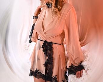 Valentines Lingerie Maternity Lingerie - Long Sleeve Chemise Robe