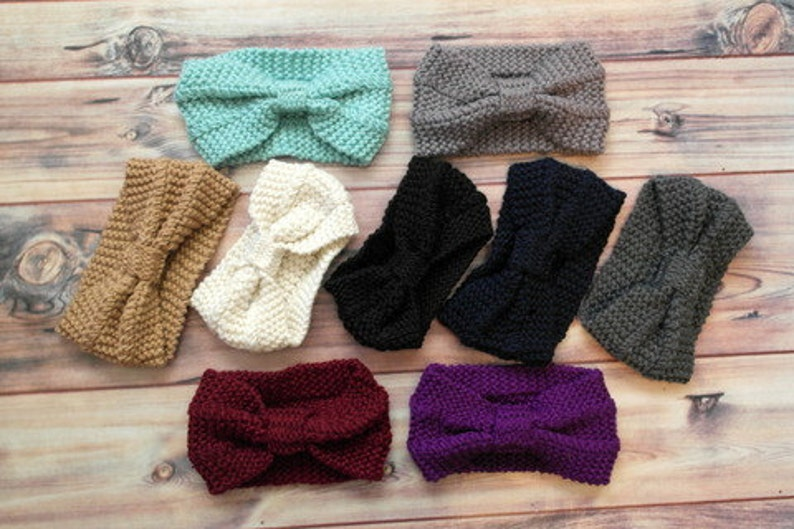 ALL COLORS SHOWN  Knitted Knot Head Band Ear Warmer Ear image 0