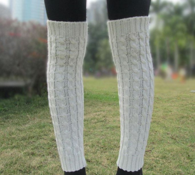 Off White Boot Cuff Boot Sock Leg Warmer Cream Creme  image 0