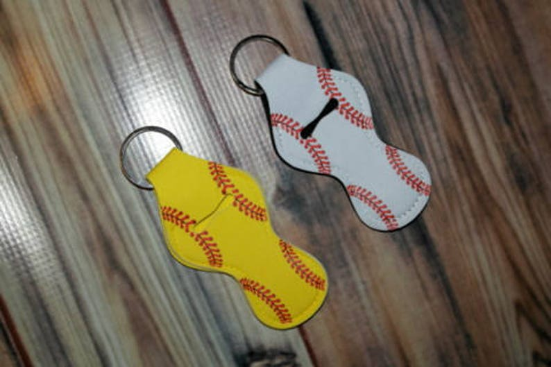 Baseball or Softball Chap Stick Holder  Key Fob  Key Chain  image 0