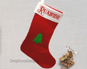 Luxury Personalised Christmas Stocking - Traditional Vintage Style / With Name / Presents / Gift for Child / Children / Kids / Baby / Dog