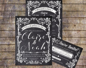 Chalkboard Style Wedding Invitation / Luxury / Personalised / Bespoke / Modern