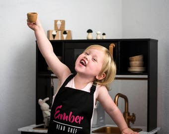 Kids Apron / Black / Choose Your Colour of Text / Crafts / Baking / Cooking / Little Chef / Head Chef / Messy Play