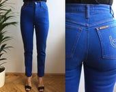 BYBLOS blue cotton denim skinny fit straight leg high waist jeans pants, classic simple tight stretch office designers studio pants, S XS