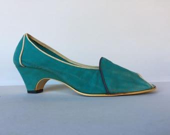 75748237a00 Retro Turquoise Blue Cotton Fabric Slingback Peep Toe Kitten Heels