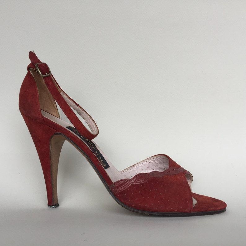44fd68c032813 Handmade chamois Leather Italian Burgundy Red Tall High Heels 3'9'', 10 cm  High, size 37 EU, 6'5 US, 4'5 UK, corduroy Strap sandals