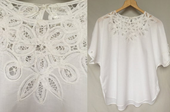 ab215119b471 80 s white cotton lace kimono top light wedding summer