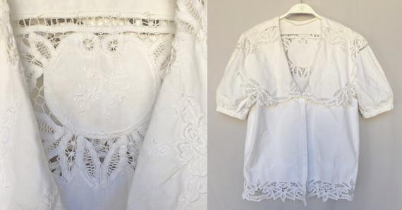 50's antique handmade lace big collar cotton white