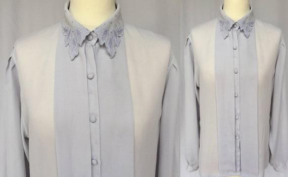 90's Grey Sheer Viscose Light Lace Collar Blouse,