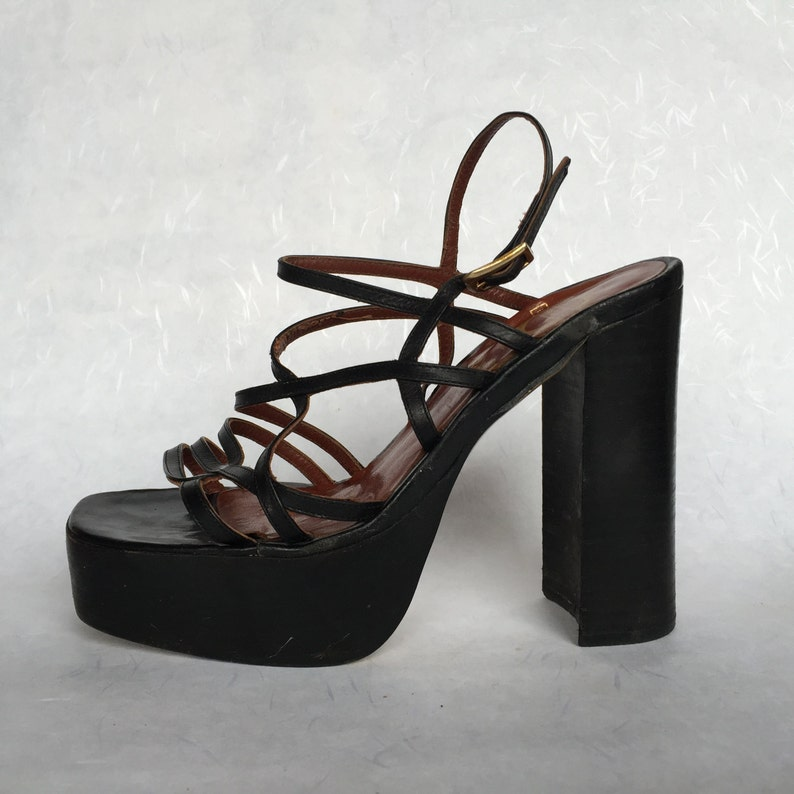 7840c294f4c Black Platform Sandals Strappy Criss Cross Shoes Slingback