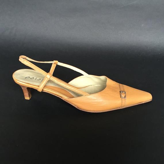 EU 36, US 5'5, UK 3'5 Nude Pointy toe slingback heels 5 cm, leather slingback simple pumps, elegant comfy small heel wedding sandals, summer