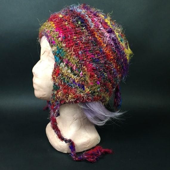 Colorful Hand knit Etnic Silk Designer Beanie Cap,