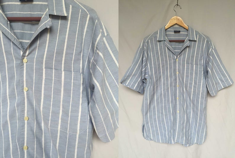 a600362250ef 90s gray blue white stripe summer light cotton short sleeve