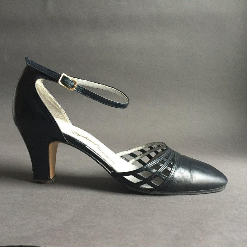 d737fed559a23 Handmade Soft Leather Italian Dark Blue Mary Jane High Heels 2'3'', 6 cm  High, size 35 EU, 4 US, 2 UK, High Fashion mary Janes Shoes
