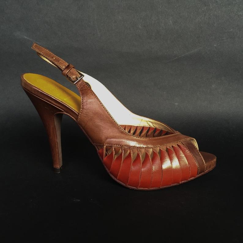 78b73ba1f34ec Red Brown Peep Toe Heels High Platform Leather Italian Open Sandals, Open  toe heel 11 cm, vintage elegant cocktail EU 37, US 6'5, UK 4'5