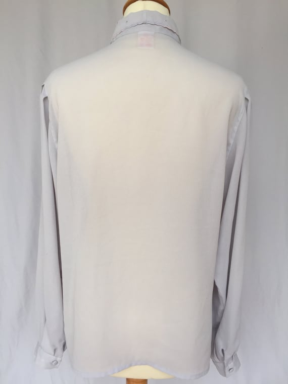 90's Grey Sheer Viscose Light Lace Collar Blouse,… - image 4