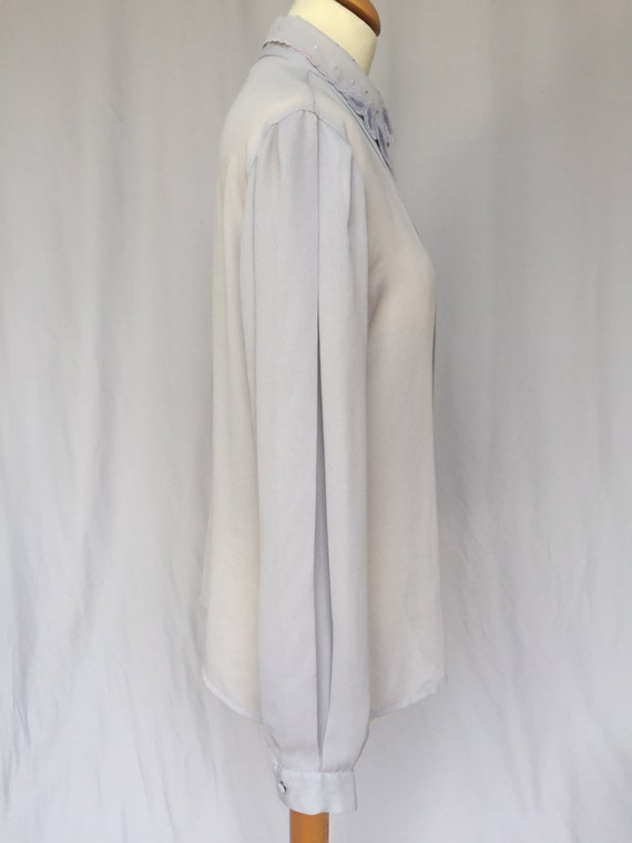 90's Grey Sheer Viscose Light Lace Collar Blouse,… - image 3