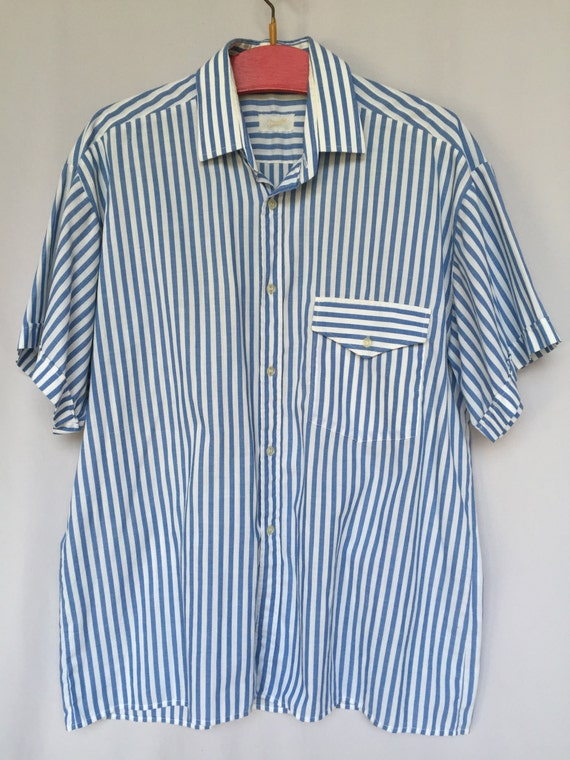 2af6d571befe 80 s blue stripe navy man short sleeve shirt nautical