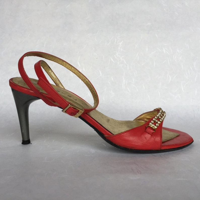 Chantal Red Strappy Sandals with glass cristals, ladies red leather slingback 3 inch high heels, ankle strap disco EU 36, US 5'5, UK 3'5