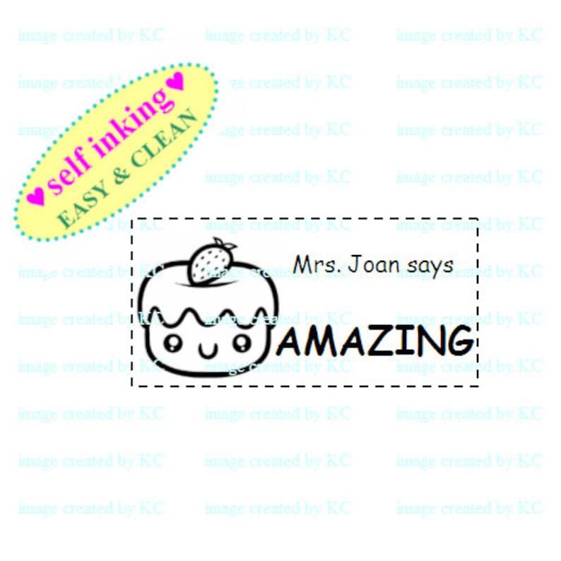 Personalised Teacher / Address Stamp : Self-inking Rubber Chop TS-B Kawaii  Animal Panda, Polar Bear, Owl Bird, Cupcake, Sushi, Smiley Books