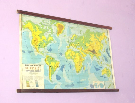 Classroom Pull Down World Map.World Atlas Map Geography School Map Canvas Chart Pull Down Etsy