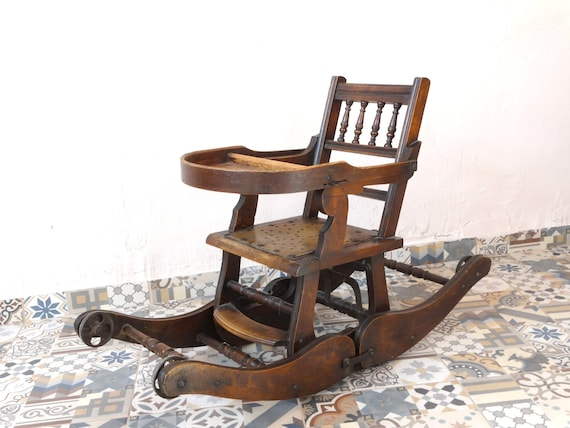 Antique Rocking Chair High Chair Victorian Wooden Etsy