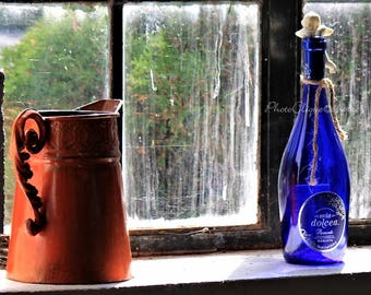Fine Art Photography • Window Sill Still Life • Moody Image of Antiques & Collectibles • Nostalgic Rustic • High Res Print