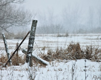 Fencepost in Winter / Wintry Landscape / Nature, Country, Rural, Rustic / High Res Print / Fine Art Photography