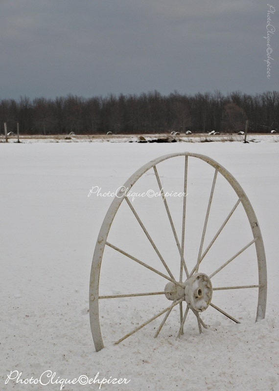 Fifth Wheel / Rustic Winter Scene With Wagon Wheel / Landscape / Monochrome  / High Res Print / Fine Art Photography