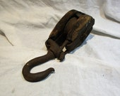 Articulating Pulley, Old Metal and Wood Farm and Barn Salvage, Industrial Factory Chic