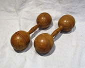 Dumbbells, Pair of Antique Wood Exercise Weights, Old Pair of Barbells